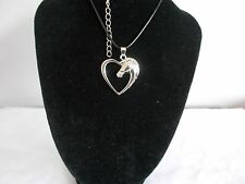Black Leather Cord Silver Plated Horse In Heart Pendant Necklace