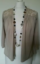 Ladies Stone Beige Jersey Shrug with Lace - Size 8