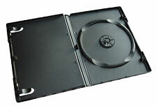 50 x SINGLE PREMIUM DVD CASE CASES 14MM SPINE BLACK CLEAR FRONT COVER SLEEVE