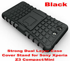 For Sony Xperia Z3 Compact Black Heavy Duty Strong Tradesman TPU Hard Case Cover