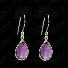 925 Sterling Silver Blue Sapphire Teardrop Dangle Earrings Gemstones Tear Drop