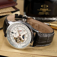 Classic Silver Steel White Automatic Mechanical Moon Phase Leather Men's Watch C