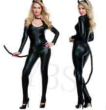 Bar Stage Sexy Faux Leather Catsuit Jumpsuits Fetish Cosplay Dress Catwoman Tail