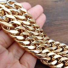 Chunky 18k Yellow Gold Filled Mens Necklace 120g GF Double Curb Chain Jewelry