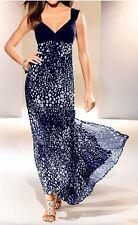 Designer Kleid Abendkleid Maxikleid GR. 46 marine/grau 197914 Neu
