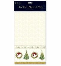 Traditional Christmas Design Plastic Wipe Clean Table Cloth Cover 120cm x 180cm