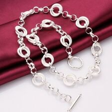 925 Sterling Silver Plated Round Pendant Necklace Chain Jewellery  Stunning Gift
