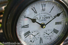 Nostalgie Antik Stil Wanduhr Uhr Metalluhr Old Town Clocks London New York rund
