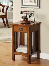 Mission Style Telephone Stand in Antique Oak Finish w/ Drawer