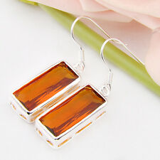 New Arrival  Gorgeous Brazil Citrine Gem Silver Drop Earrings