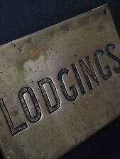 Early 1900s Brass Lodgings Sign notice old vintage reclaimed advertising