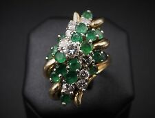 Vintage 14K Yellow Gold 2ct Emerald Diamond Spray Cocktail Ring Size 5 RG753
