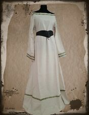 Medieval dress drapery canvas cotton natural green trim 3227 Garb long