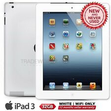 "New APPLE iPad 3 3rd Gen White 32GB WiFi Only 9.7"" Retina Screen Tablet"