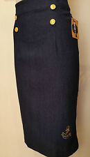 Rockabilly Pinup Vintage Nautical High Waist Denim Pencil Wiggle Skirt SIZE S