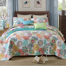 Coverlet BedSpread Patchwork Cotton Queen/King Size Paisley Quilted 3pcs AC473