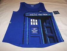 Doctor Who Ladies Blue Tardis Printed Sleeveless Singlet Tank Top Size M New