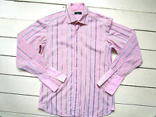 Ted Baker pink white yellow & blue stripe long sleeve cotton shirt Size L