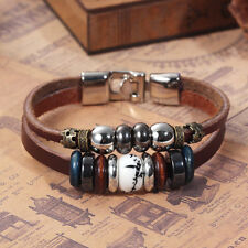 Leather Beaded Bracelet Unisex Length 21.5cm Link Clasp Brown J75654
