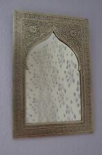 Hand Crafted* MOROCCAN ENGRAVED SILVER COLOUR POINTED ARCHED  MIRROR 29cm x 19cm