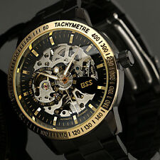 Man Auto Self-winding Mechanical Vintage Gold Skeleton Steampunk Mens Watch New