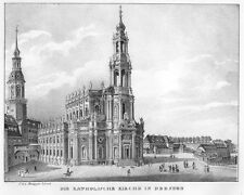 Dresden, Innenstadt mit katholischer Kirche, Original-Lithographie von 1832