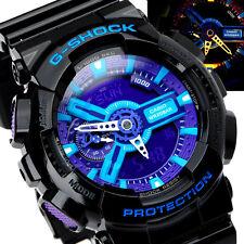 Casio G-Shock Mens Wrist Watch GA110HC-1A GA-110HC-1A Digital-Analog Black-Blue