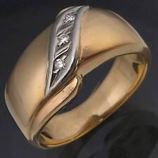 Smart stylish 10ct GOLD BAND 3 x DIAMOND ETERNITY / DRESS RING solid yellow Sz P