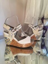 Clarks Soft Wear White Floral Wedge Uk 4