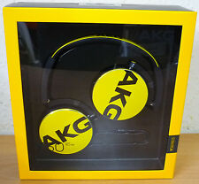 AKG Y50 YELLOW FOLDABLE HEADPHONES, IN-LINE MIC MICROPHONE CARRY POUCH UK STOCK