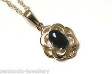 9ct Gold Black Onyx Pendant and Chain Made in UK Gift Boxed