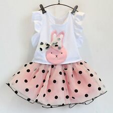 2pcs Toddler Infant Baby Girls Outfits Clothes T-shirt Tops+Tutu Skirt Dress Set