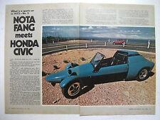 1973 NOTA FANG MEETS HONDA CIVIC 7 PAGE MAGAZINE ROAD TEST COMPARISON + ADVERT