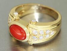 Massiver Damenring Ring Gold 750 mit Koralle u Zirkonias Goldring 18 kt.9,3gr