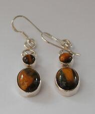 925 Sterlingsilber Ohrringe mit ovalen und runden Tigerauge Edelsteinen