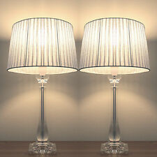 PAIR of NEW Bedside Table DESIGNER MODERN LAMPS with Silver Round Shade