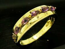 R187- SOLID 9ct Gold NATURAL Amethyst  DIAMOND Eternity Ring  Anniversary size P