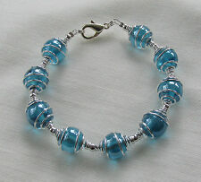 Handmade Turquoise Blue Glass Bead Beady & Silver Plated Spiral Caged Bracelet
