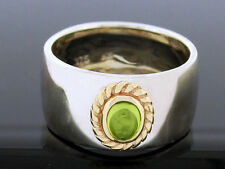 R42/78 Genuine 925 Solid Silver & 9ct Yellow Gold NATURAL Peridot Rope Band Ring
