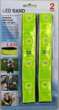 2 x LED Reflektorband Leuchtband Armband Sicherheitsband Klettband LED Band