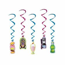 Pack of 5 American Diner Hanging Whirls - 91cm - Cafe Soda Shop Party Decoration