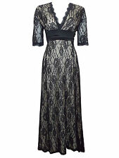 New-Black Lace Long Dress-Cream Lining-Half Sleeves-Maxi-Party/Evening Gown-14