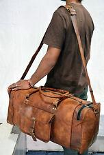 "Genuine 25"" Overnight Brown Leather Duffle Travel Gym Weekend Large Vintage Bag"