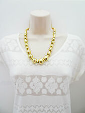 Graduated Gold Tone Necklace and Earring Jewellery Set Plastic Beads
