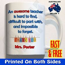 PERSONALISED Awesome teacher hard to find COFFEE MUG CUP birthday end year gift