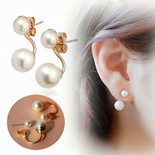 Newest Rose Gold Plated Jewelry Double Freshwater Pearl Ear Stud Cuff Earrings