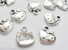 50 X HELLO KITTY FACE CHARMS SILVER TIBETAN CRAFT JEWELLERY MAKING GIRL GIFT