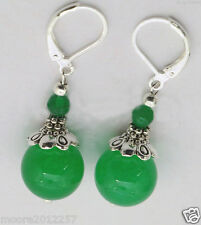 Fashion beautiful Tibet silver green jade gemstone bead Dangle Earrings AAA