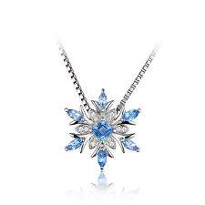 Christmas Snowflake Genuine Swiss Blue Topaz  925 Sterling Silver Pendant