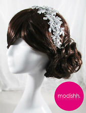 BRIDAL WEDDING HEAD HAIR PIECE ACCESSORY BAND LACE COMB TIARA VINTAGE CHLOE